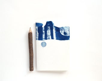 SALE OOAK Cyanotype Notebook / The Blue Because Notebook / A6 blank notebook / handcrafted notebook / blue / abstract / stripe