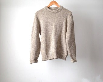 90s OXFORD tan speckled wool CREW neck sweater