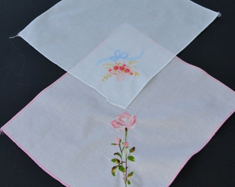 Vintage Womens Handkerchief Embroidered Pink Floral Hanky Set of 2