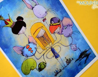 Many A Strange Tale – Alice In Wonderland Digital Fine Art Print, Through the Looking Glass, Cheshire Cat, Mad Hatter, and Queen of Hearts