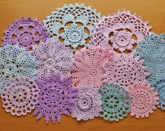 14 Light Pinks, Purples, and Blues Hand Dyed Doilies, 2.25 to 5 inch Small Craft Doilies