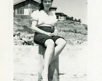 "Vintage Photo ""Beach Percher"" Woman Girl Summer Snapshot Antique Photo Old Black & White Photograph Found Paper Ephemera Vernacular - 181"