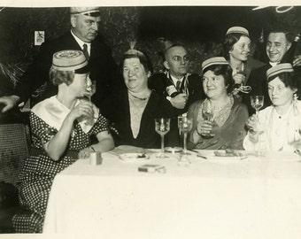 "Vintage Photo ""Late Night Cheers to All"" Snapshot Antique Photo Old Black & White Photograph Found Paper Ephemera Vernacular - 103"