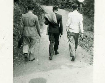 "Vintage Photo ""Headed Down the Secret Street"" Snapshot Antique Photo Old Black & White Photograph Found Paper Ephemera Vernacular - 177"