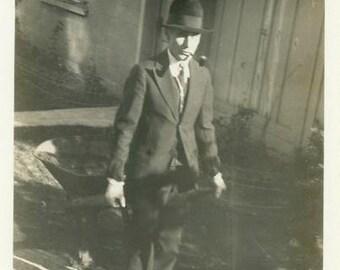 "Vintage Photo ""The Wheelbarrow Business Man"" Snapshot Antique Photo Old Black & White Photograph Found Paper Ephemera Vernacular - 177"