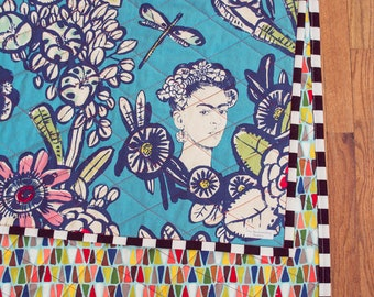 Blue Frida Kahlo Crib Blanket - Lap Blanket - Baby Blanket - Throw Blanket - Coverlet