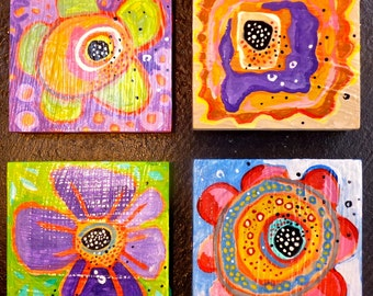 Set of four! original flower painting, acrylic painting, still life painting, abstract painting, abstract flower, art landscape, flowers