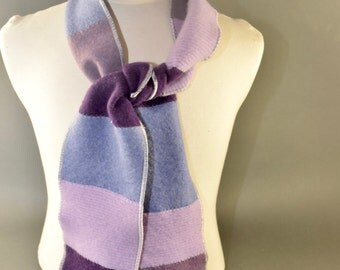 Felted Cashmere Long Scarf - Repurposed Cashmere in Purples