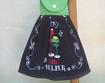 """Christmas Saying Kitchen Towel, """"SANTA'S """"little"""" HELPER"""", Drink Themed Holiday Towel, Kitchen Towels Funny, Black Green Kitchen Decor"""