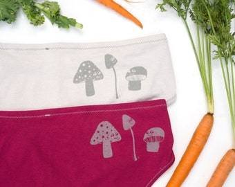 Mushroom Women's Handmade Underwear - Light Gray OR Fuchsia - Made to Order