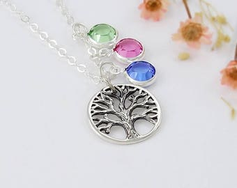 Holiday gifts for mom, Family Tree of Life Birthstone Necklace Swarovski Crystal Personalized December Blue Zircon Grandmother Silver Mom