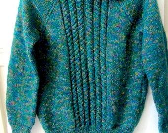 Hand Knit sweater, green knit sweater, girls knit Sweater, boys knit sweater, cable knit sweater, ski knit sweater, lovesknitting sweater