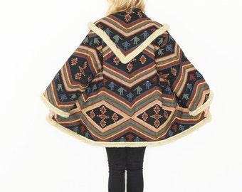 Vintage Southwestern Blanket Coat , Tapestry BOHO Jacket