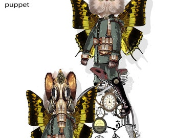 Printable Steampunk time traveling Kitty articulated paper doll puppet