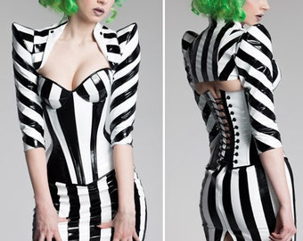 M Black & White Striped PVC pointed shoulder shrug from Artifice