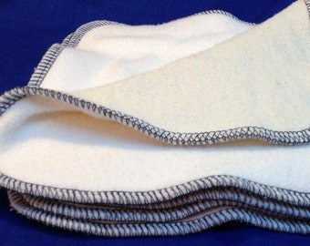 """Bamboo Fleece and Hemp French Terry Double Layer Wipes, 8x8"""" (20x20cm) set of 4, Organic Oil Cleansing Washcloths, Pick the edge color!"""