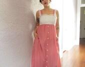 70's Vintage Gingham Lace Summer Dress maxi dress med.