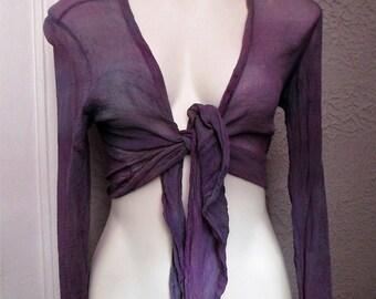 Vintage 70's Sheer Silk Short Tie Top India Hippie Sm.