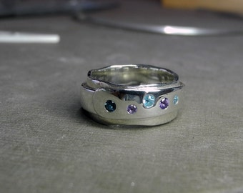 Wrapt Ring with amethyst, topaz, and aquamarine