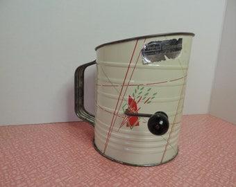 Vintage Flour Sifter BrimwellKitchen Gadget Retro Kitchen Primitive Kitchen Red Kitchen