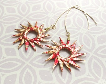 Red and Gold Origami Sunburst Earrings
