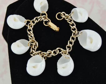 Vintage Charm Bracelet with Dangling White Seashells