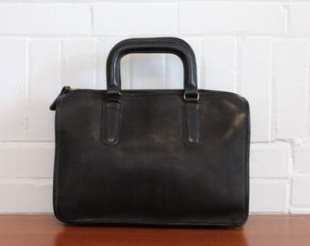 Vintage COACH Slim Satchel Bag // NYC Bonnie Cashin Brief Tote Clutch Black Leather