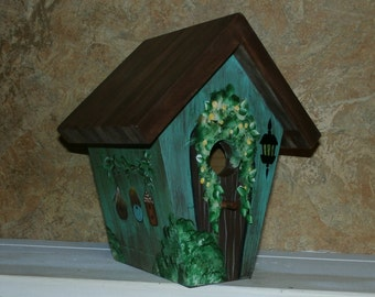 Hand Crafted Birdhouse, Painted Teal, Brown, Green Cottage Style Bird House, Indoor, Outdoors-Gift Bird house