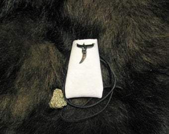 White Leather Bag , White Medicine Bag , Black And White Bag , Leather Bag Pouch , Crystal Pouch , Snowflake Obsidian Pouch , Wing Charm
