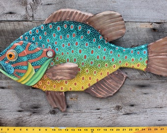 "21"" Pumpkinseed Sunfish Wall Art, Original Handpainted Wood Sculpture, Lake and Lodge Kids Fishing Favorite"