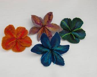 Merino wool wet felted flower brooch, wedding flower corsage