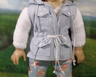 Hooded Vest, Sweater,Hat, and floral print Pants for 18 inch Dolls