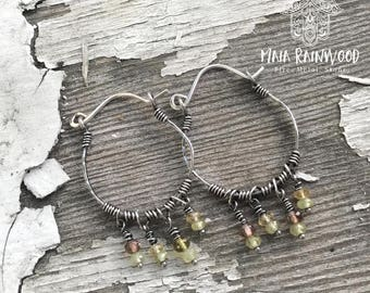 Grossular garnet and andalusite sterling silver hoops