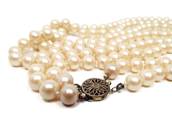Long Vintage Faux Pearl Necklace Double Strand Golden Off White High Quality Knotted Strung Sterling Box Clasp Elegant Formal