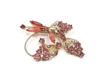 Vintage Pink Rhinestone Brooch Gold Tone Mid Century 1960s 60s Flower Floral