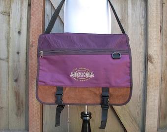 Vintage The Original Arizona Jean Company Purple Brown 90s 80s Nylon Leather Crossbody Classic Messenger Bag Pack Book Bag Daypack Biker Mod
