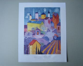 Landscape Tuscany - Contemporary Art Poster Print from an Original Watercolour - Rare Hand Signed in Pencil by artist Giuliana Lazzerini