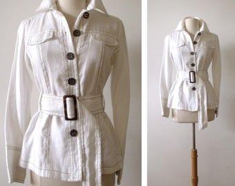 VERANEEKA Belted White Cotton Spring Jacket ~ Size S