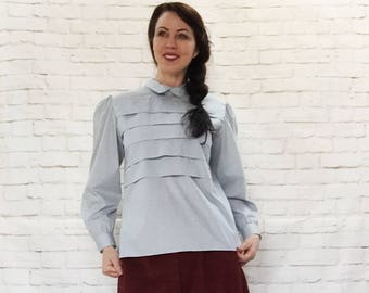 Vintage 80s Does Victorian Pleated Layered Puff Sleeve Blouse Top Gray Button-Back Steampunk
