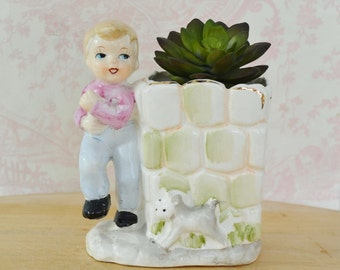 Vintage Planter of a Boy and Gray Dog Next to a Stone Wall Made in Japan