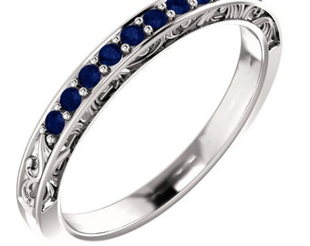 Stackable 14kt White  ,Rose or Yellow Gold  Floral Sculptural AAA Top Blue Sapphire Half Eternity Band Ring  ST233141