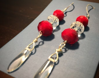 Bright Holiday Red Czech Glass with Clear Czech glass and pressed glass Dangle Earrings, Stocking Stuffer, Gift