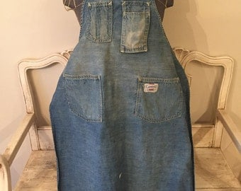 Vintage Carter's Denim Apron - Weathered, Full Length Shop Apron