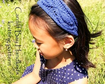 KNITTING PATTERN,knit headband,knit head wrap,girls knit ear warmer,chunky knit, button closure,rosebud embossed,cable ear warmer,blue, red