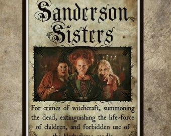 Large Sanderson Sisters Print 11x17 Inspired by Hocus Pocus