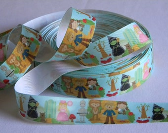 """The Wizard of Oz Ribbon Grosgrain 5 yards of 1"""" Green Ribbon with Wicked Witch Dorothy Tin Man Scarecrow Cowardly Lion Glinda and Toto Too"""
