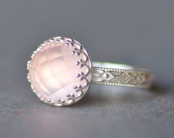 Genuine Rose Quartz Silver Gemstone Ring,Rose Cut Rose Quartz Ring,Sterling Silver,Crown Setting,Cabochon,Womens Ring,Petal Blush Pink Rose