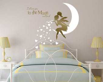 FAIRY Wall Decal, Fairy Blowing Hearts, Fairy blowing kisses, I Love You To The Moon and Back, Fairy wall sticker, Fairy Wall Decor
