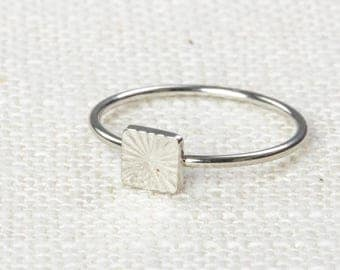 Square Midi Vintage Ring Silver Knuckle Ring US Womens Sizes 7D