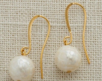Ivory Faceted Pearl Earring French Hooks Handcrafted (Silver, Gold or Rose Gold) 6I